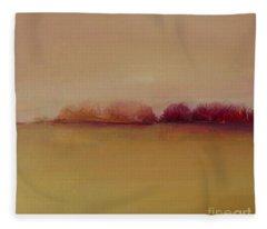 Distant Red Trees Fleece Blanket