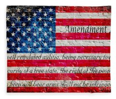 Distressed American Flag And Second Amendment On White Bricks Wall Fleece Blanket