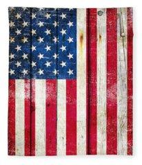 Distressed American Flag On Wood - Vertical Fleece Blanket