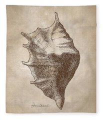 Distressed Vintage Beach Shell Antique Nautical Seashell Coastal Beachcombing Decor Fleece Blanket