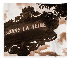 Distressed Parisian Street Sign Fleece Blanket