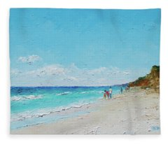 Ditch Plains Beach Montauk Hamptons Ny Fleece Blanket