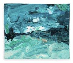Diving In- Abstract Art By Linda Woods Fleece Blanket