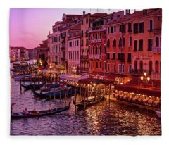 A Cityscape With Vintage Buildings And Gondola - From The Rialto In Venice, Italy Fleece Blanket