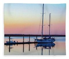 Docked On Jekyll Island Fleece Blanket