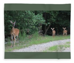Doe With Twins Fleece Blanket