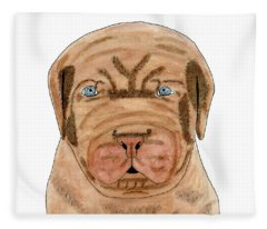 Dog French Mastiff Puppy Watercolor Painting Fleece Blanket