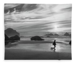 Dog Walker Bw Fleece Blanket