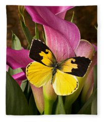 Dogface Butterfly On Pink Calla Lily  Fleece Blanket