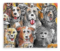 Dogs At Attention Fleece Blanket
