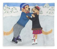 Dogs Skating Fleece Blanket