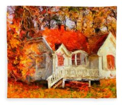 Doll House And Foliage Fleece Blanket