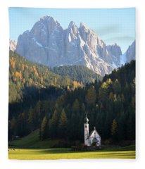 Dolomites Mountain Church Fleece Blanket