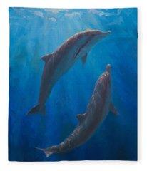 Dolphin Dance - Underwater Whales - Ocean Art - Coastal Decor Fleece Blanket