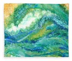 Fleece Blanket featuring the mixed media Dolphin Waves 2 by Carol Cavalaris