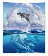 Dolphonic Symphony Fleece Blanket