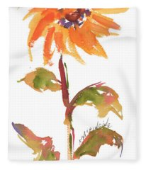Door Keeper Sunflower Watercolor Painting By Kmcelwaine Fleece Blanket