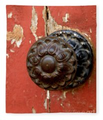 Door Knob On Red Door Fleece Blanket