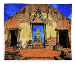Doorway To Wat Ratburana In Ayutthaya, Thailand Fleece Blanket