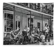 Doreen's Jazz New Orleans 2 - Paint Bw Fleece Blanket