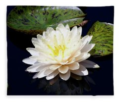 Dotty White Lotus And Lily Pads 0030 Dlw_h_2 Fleece Blanket