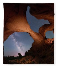 Double Arch And The Milky Way - Arches National Park - Moab, Utah 2 Fleece Blanket