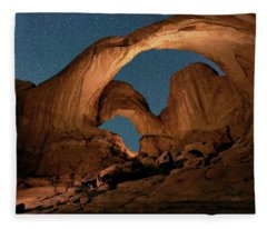 Double Arch And The Milky Way - Arches National Park - Moab, Utah. Fleece Blanket
