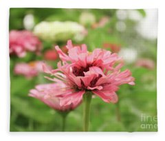 Double Blooming Pink Zinniain Garden  Fleece Blanket