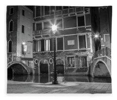 Double Bridge In Venice Italy  Fleece Blanket
