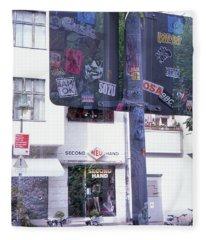 Double Exposure Street Sign Fleece Blanket
