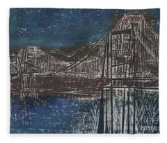 Double Golden Gate Bridge Blue And Brown Dry Point And Woodcut Print Fleece Blanket