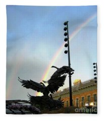Double Rainbow Over Old Town Square Fleece Blanket