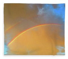 Double Rainbows In The Desert Fleece Blanket