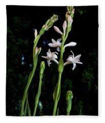 Double Tuberose In Bloom Fleece Blanket