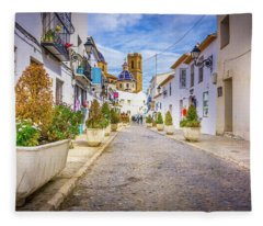 Down The Street, Altea, Spain. Fleece Blanket