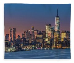 Downtown And Freedom Tower Fleece Blanket