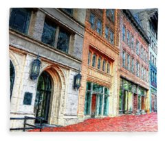 Downtown Asheville City Street Scene II Painted Fleece Blanket