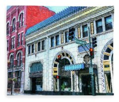 Downtown Asheville City Street Scene Painted  Fleece Blanket