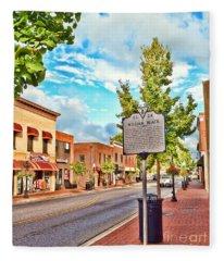 Downtown Blacksburg With Historical Marker Fleece Blanket