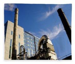 Downtown Buildings And Factory In Seattle Washington Fleece Blanket
