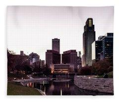 Downtown Omaha At Sunset Fleece Blanket