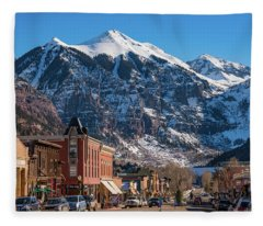 Downtown Telluride Fleece Blanket