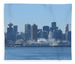 Downtown View From North Vancouver Fleece Blanket