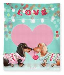 Doxie Valentine's Party Fleece Blanket