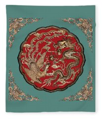 Dragon And Phoenix Fleece Blanket