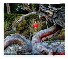 Dragon Fountain Fleece Blanket