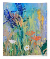 Dragonflies In Wild Garden Fleece Blanket