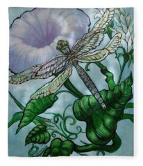 Dragonfly In Sun Fleece Blanket