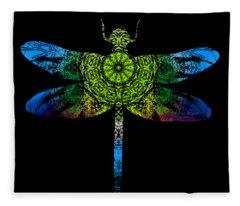 Dragonfly Kaleidoscope Fleece Blanket