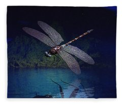Dragonfly Night Reflections Fleece Blanket